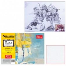 """Холст грунтованный на картоне с контуром BRAUBERG """"Цветы"""", 30х40 см, 100% хлопок, мелкое зерно"""