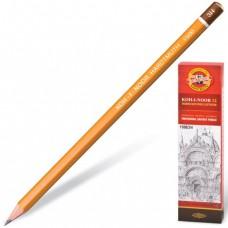 Карандаш чернографитный KOH-I-NOOR 1500, 1 шт., 3H, без резинки, корпус желтый, заточенный