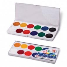 """Краски акварельные ЛУЧ """"Классика"""", 12 цветов, медовые, пластиковая коробка, без кисти"""