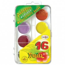 """Краски акварельные ГАММА """"Пчелка"""", 16 цветов, медовые, пластиковая коробка, без кисти"""