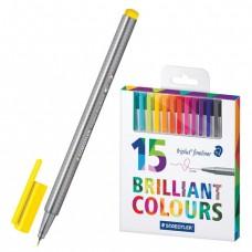 Ручки капиллярные STAEDTLER, набор 15 шт., трехгранные, толщина письма 0,3 мм, цвета ассорти