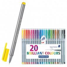 Ручки капиллярные STAEDTLER, набор 20 шт., трехгранные, толщина письма 0,3 мм, цвета ассорти