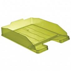 """Лоток горизонтальный для бумаг СТАММ """"Эксперт"""", тонированный зеленый (лайм)"""