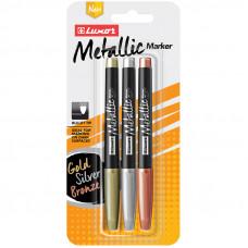 """Набор маркеров для декорирования Luxor """"Metallic"""" 3цв., металлик, пулевидные, 1-2мм, блистер"""