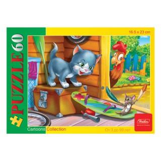 """Пазл MINI, 60 элементов, А5, """"Котенок и мышонок"""""""