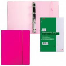 """Тетрадь на кольцах, 120 л., HATBER, пластиковая обложка, """"DIAMOND-розовая"""""""