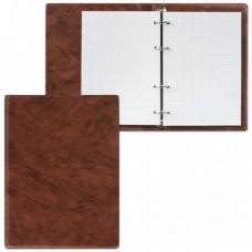 "Тетрадь на кольцах, 90 л., А5, 140х205 мм, обложка ПВХ, клетка, коричневая, ""ДПС"""