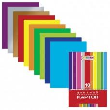 """Цветной картон, А4, мелованный, двусторонний, 10 цветов, 185 г/м2, HATBER """"Creative"""""""
