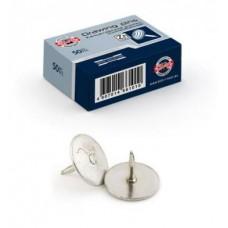Кнопки канцелярские, 14x11, 50 шт., силовые, оцинкованные