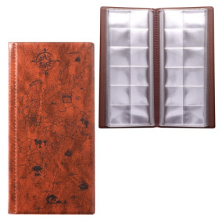 Альбом для монет или купюр, 105х223 мм, на 72 монеты D до 30 мм, выдвижные карманы, коричневый
