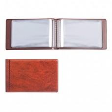 Визитница однорядная на 28 визитных, дисконтных или кредитных карт, коричневая
