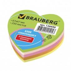 Блок самоклеящийся (стикер), фигурный, BRAUBERG, НЕОНОВЫЙ, в форме сердца, 67х67 мм, 250 листов, 5 цветов
