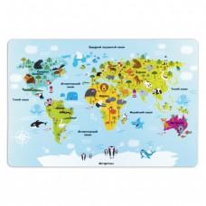 """Настольное покрытие для письма и творчества ПИФАГОР, размер А3, пластик, """"Карта мира"""""""