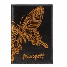 """Обложка для паспорта BEFLER """"Бабочка"""", натуральная кожа, тисненение-принт"""