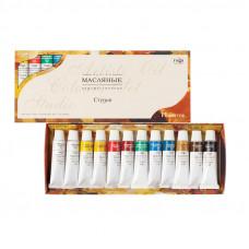 "Краски масляные Гамма ""Студия"", 10 цветов + 2 белых, туба 9мл, картон. упак."