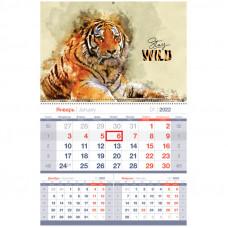 """Календарь квартальный 1 бл. на гребне OfficeSpace Mono premium """"Символ года"""", 2022г."""