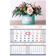"""Календарь квартальный 1 бл. на гребне OfficeSpace Mono premium """"Яркий букет"""", 2022г."""