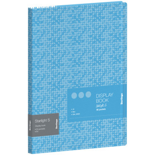 """Папка с 30 вкладышами Berlingo """"Starlight S"""", 17мм, 600мкм, голубая, с внутр. карманом, с рисунком"""