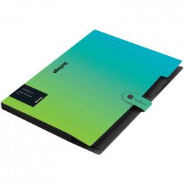 """Папка 5 отделений Berlingo """"Radiance"""", А4, 600мкм, на кнопке, голубой/зеленый градиент"""