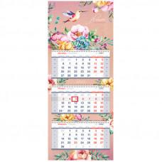 "Календарь квартальный 3 бл. на 3 гр. OfficeSpace Premium ""Flower Collection"", 2022г."