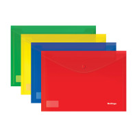Папка-конверт на кнопке Berlingo, А4, 180мкм, ассорти