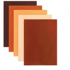 Цветной фетр для творчества А4 ОСТРОВ СОКРОВИЩ, 5 листов, 5 цветов, толщина 2 мм, оттенки коричневого