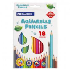Карандаши цветные акварельные BRAUBERG PREMIUM AQUARELLE, 18 цветов, грифель мягкий 4 мм
