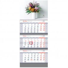 "Календарь квартальный 3 бл. на 3 гр. OfficeSpace Standard ""Букет"", 2022г."