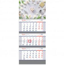 "Календарь квартальный 3 бл. на 3 гр. OfficeSpace Standard ""White flowers"", 2022г."