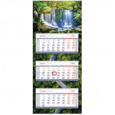 "Календарь квартальный 3 бл. на 3 гр. OfficeSpace Mini Premium ""Waterfall"", 2022г."