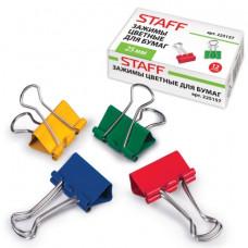 Зажим для бумаг STAFF, 1 штука, 25 мм, на 100 листов, цвет ассорти