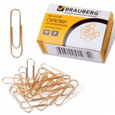 Скрепки BRAUBERG, 28 мм, золотистые, 100 шт.