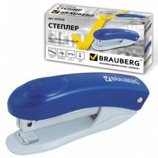 """Степлер BRAUBERG """"Einkommen"""", №10, до 12 листов, металлический механизм, встроенный антистеплер, синий"""