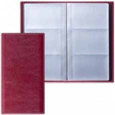 "Визитница трехрядная BRAUBERG ""Imperial"", под гладкую кожу, на 144 визитки, бордовая"