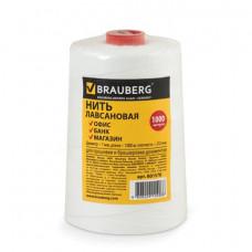 Нить лавсановая для прошивки документов BRAUBERG, диаметр 1 мм, длина 1000 м, белая