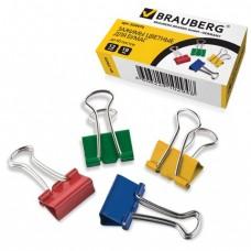 Зажимы для бумаг BRAUBERG, комплект 12 шт., 19 мм, на 60 л., цветные