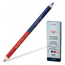 Карандаш двухцветный утолщённый KOH-I-NOOR, 1 шт., красно-синий, грифель 3,8 мм