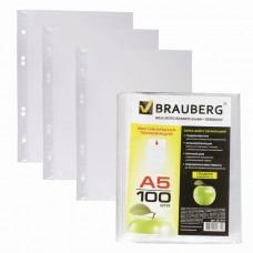 """Папки-файлы перфорированные, А5, BRAUBERG, комплект 100 шт., вертикальные, гладкие, """"Яблоко"""", 0,035 мм"""