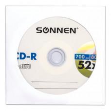 Диск CD-R SONNEN, 700 Mb, 52x, бумажный конверт.