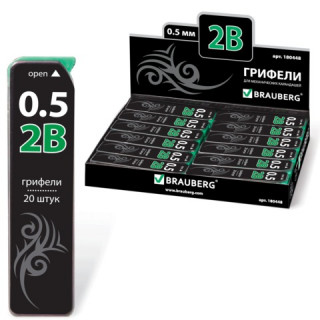 """Грифель запасной BRAUBERG """"Black Jack"""", Hi-Polymer, 2В, 0,5 мм, 20 штук"""
