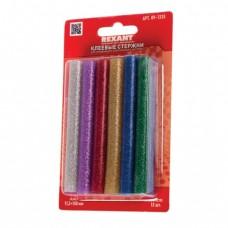 Клеевые стержни, диаметр 11 мм, цветные с блестками, REXANT, комплект 12 шт., длина 100 мм, блистер, ассорти