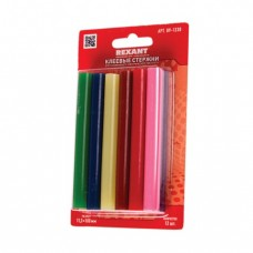 Клеевые стержни, диаметр 11 мм, цветные, REXANT, комплект 12 шт., длина 100 мм, блистер, ассорти