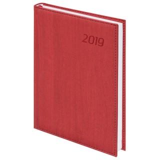 """Ежедневник датированный 2019, А5, BRAUBERG """"Natural"""", стильная кожа, красный"""
