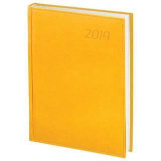 """Ежедневник датированный 2019, А5, BRAUBERG """"Rainbow"""", гладкая кожа, желтый"""