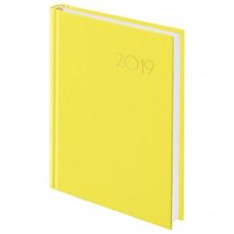 """Ежедневник датированный 2019, А5, BRAUBERG """"Select"""", кожа классик, желтый, 138х213 мм"""