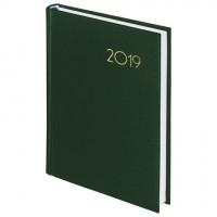 """Ежедневник датированный 2019, А5, BRAUBERG """"Select"""", кожа классик, зеленый, 138х213 мм"""