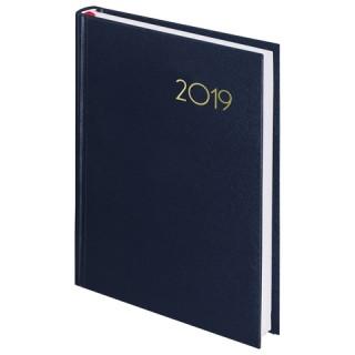 """Ежедневник датированный 2019, А5, BRAUBERG """"Select"""", кожа классик, темно-синий, 138х213 мм"""