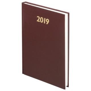 Ежедневник датированный 2019, А5, твердый переплет, обложка бумвинил, коричневый, 145х215 мм