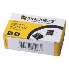 Зажим для бумаг BRAUBERG, 1штука, 32 мм, на 140 л., черный