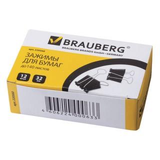 Зажим для бумаг BRAUBERG, 32 мм, на 140 л., черный
